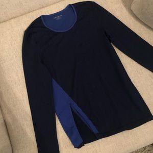 Tory Sport Active Sweater Asymmetrical Slit Blue